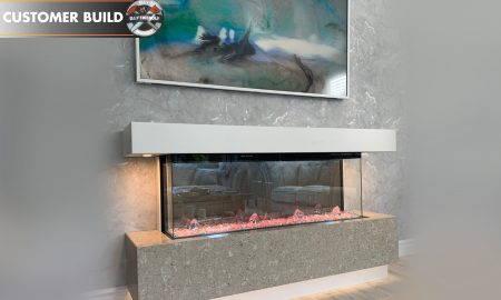 TV above an electric fireplace