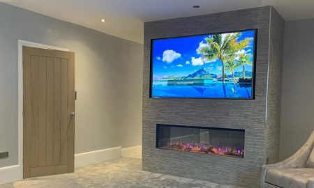 Electric fireplace fake media wall
