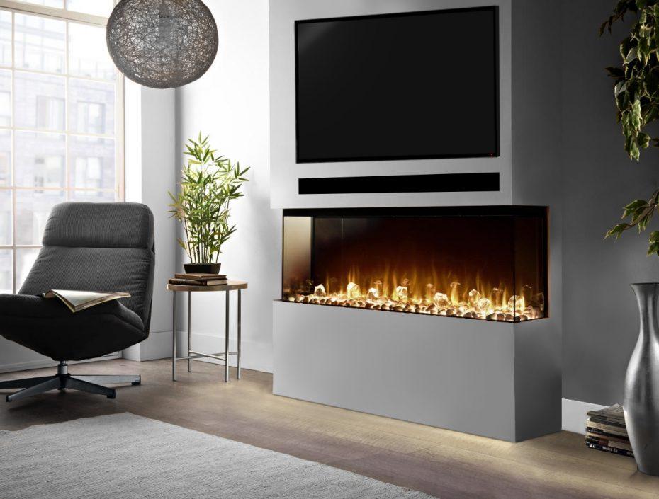 1250 HD+ Panoramic Grey Fireplace